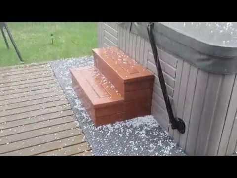 Kraftig hagl i Hokksund