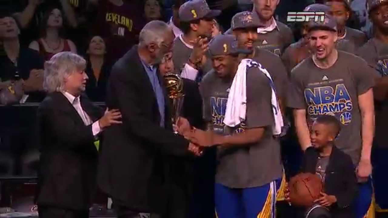 Andre Iguodala Receives 2015 Finals MVP Trophy - YouTube