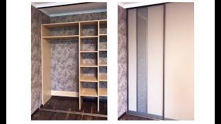 Шкаф с комбинированными дверьми Лакобель с декоративным стеклом