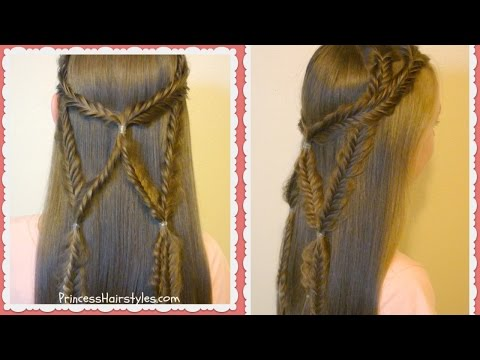 Angel Wings Fishtail Braid Tie Back Hairstyle thumbnail