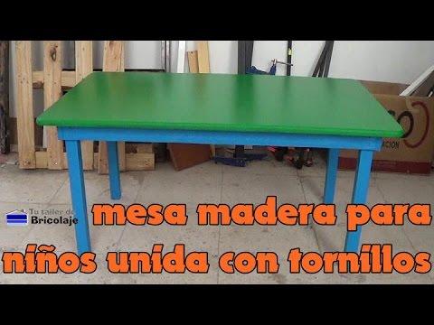 C mo hacer una mesa de madera para ni os con tornillos for Crear una cubierta de madera
