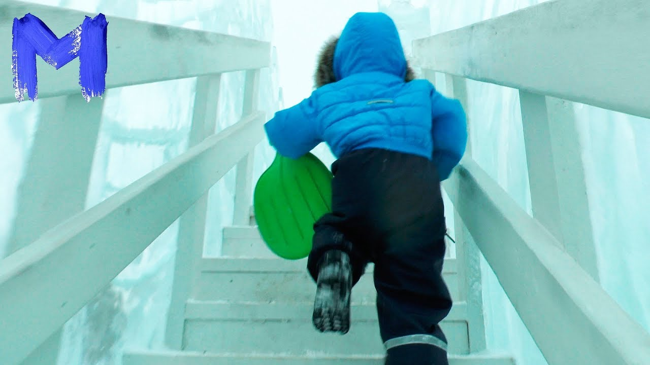 Влог Макс катается с горок Тестируем ледяные горки Развлечения для детей