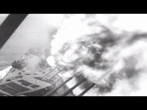US Navy Ships in Action 3rd Fleet Shells Kamaishi Battleships 16 Inch Guns Firing WW2 w/ Sound
