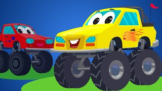 Little Red Car Rhymes - Monster Truck Songs | Rig A Jig Jig | Nursery Rhymes For Kids And Babies