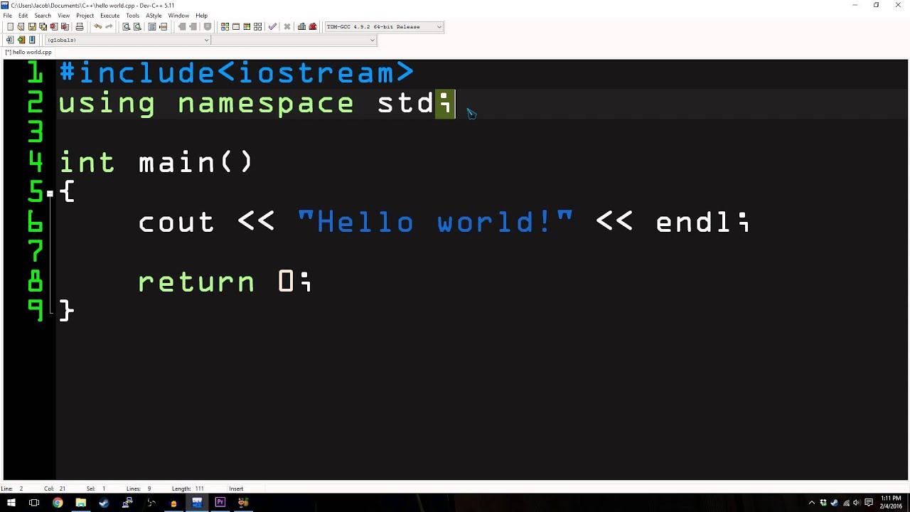 C++ Tutorial #1: Hello World! - YouTube