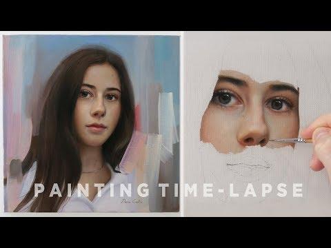 "PORTRAIT PAINTING TIME-LAPSE    ""Giorgia"" Oil on canvas"