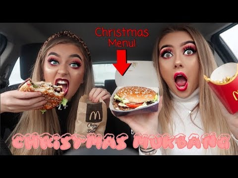 CHRISTMAS MUKBANG trying mcdonald's christmas menu