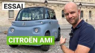 Citroen AMI test road in Paris : the cheap electric car without license (english subtitles)