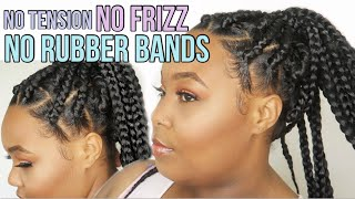 DIY Jumbo Box Braids | EASY GRIP w/ NO RUBBER BANDS, NO TENSION, FRIZZ