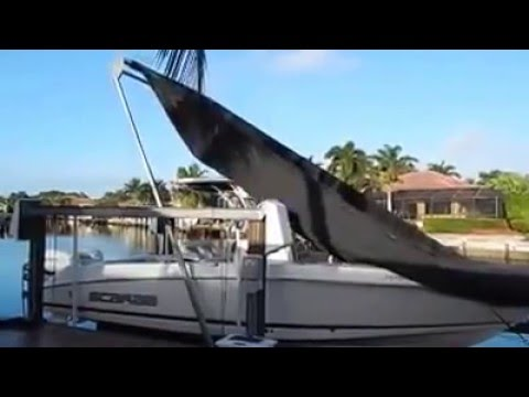 Sunstream Automatic Boat Cover On 4 Piling Cable Lift
