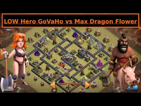 Low Hero GoVaHo vs MAX POPULAR Dragon Flower. TH9 Valkyrie + Hogs. Clash of Clans