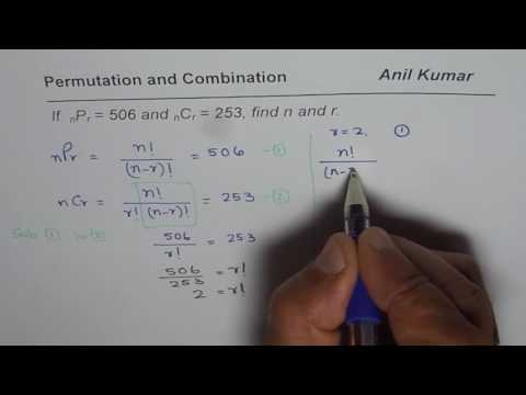 Find n and r with Permutation Combination Algebra IB SL MAths