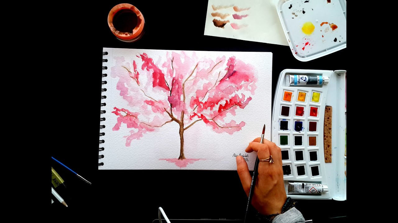 Basic And Beautiful Simple Tree Watercolor Drawing