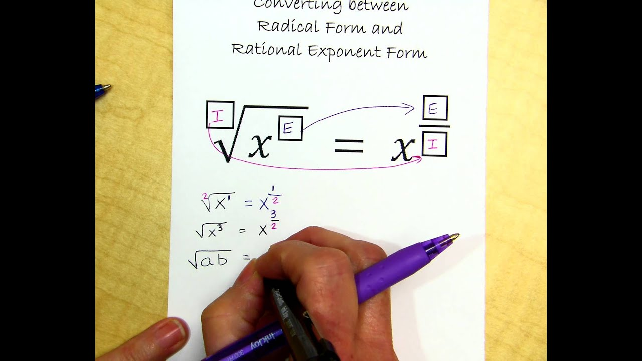 Converting Between Radical and Rational Exponent Form - YouTube