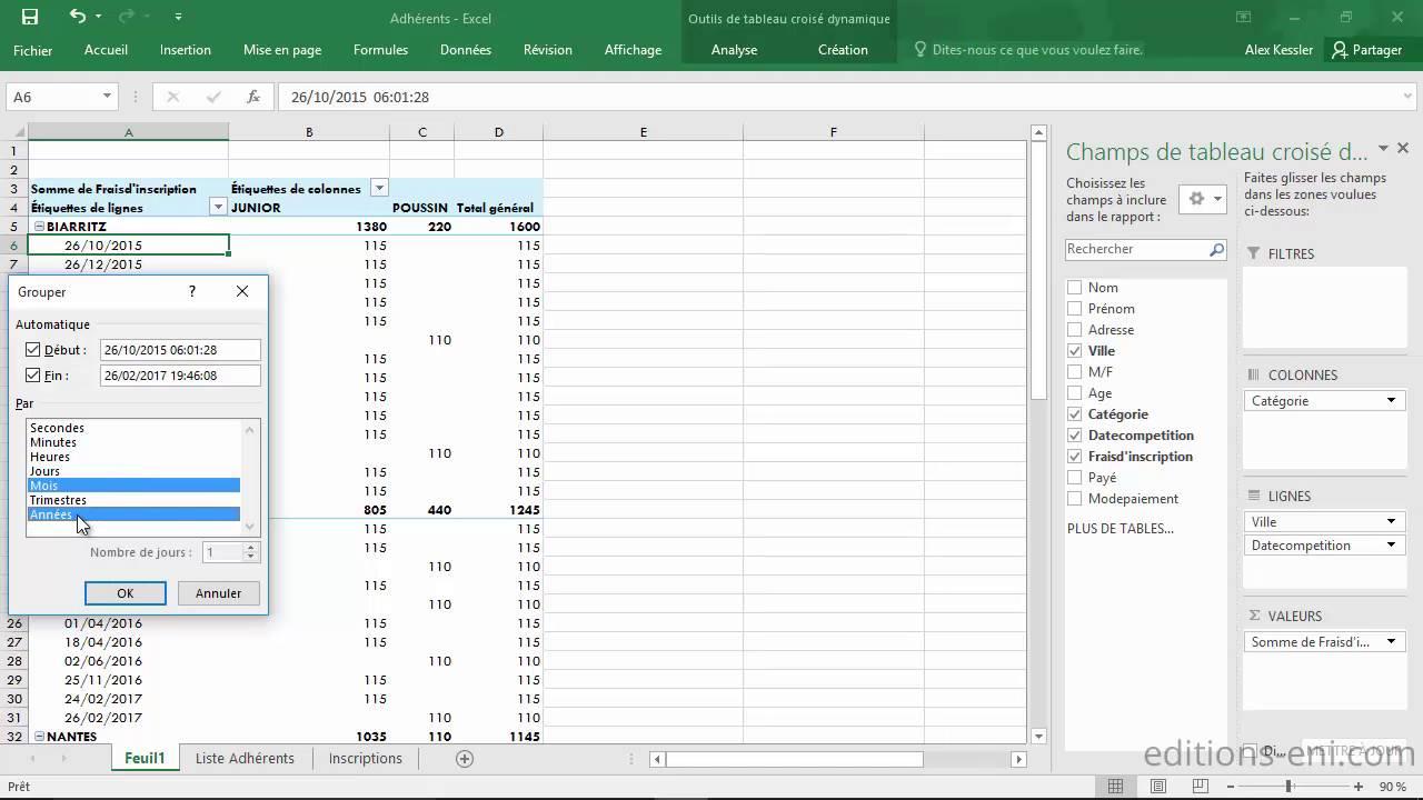 Excel 2016 Modification D Un Tableau Croise Dynamique Youtube