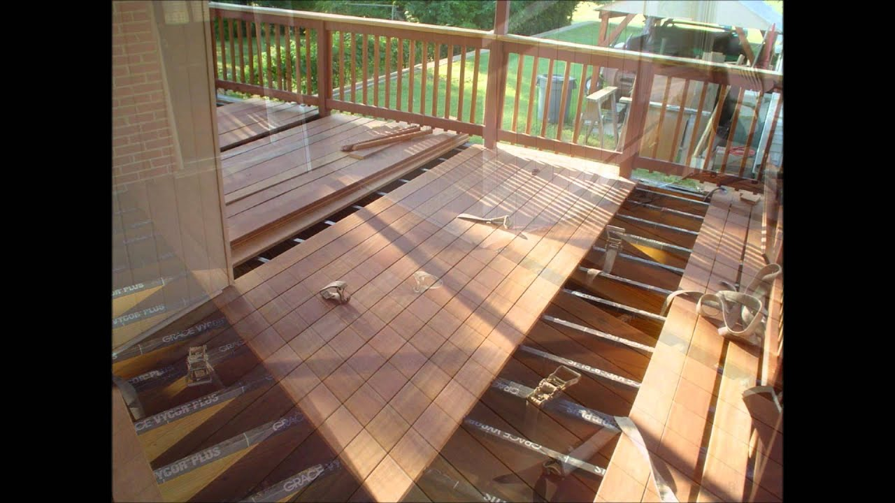 Cumaru 5/4 x 6 Deck Work Boards 18' long being installed ...