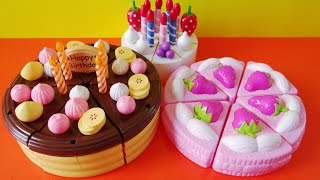 Toy cutting velcro cakes strawberry chocolate custard vanilla fruit cake sponge cake thumbnail