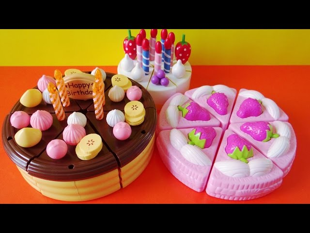 Toy cutting velcro cakes strawberry chocolate custard vanilla fruit cake sponge cake