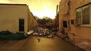 10-28-2020 Golden Meadow, LA - Drone Major Damage Partial Building Collapse Onto Road