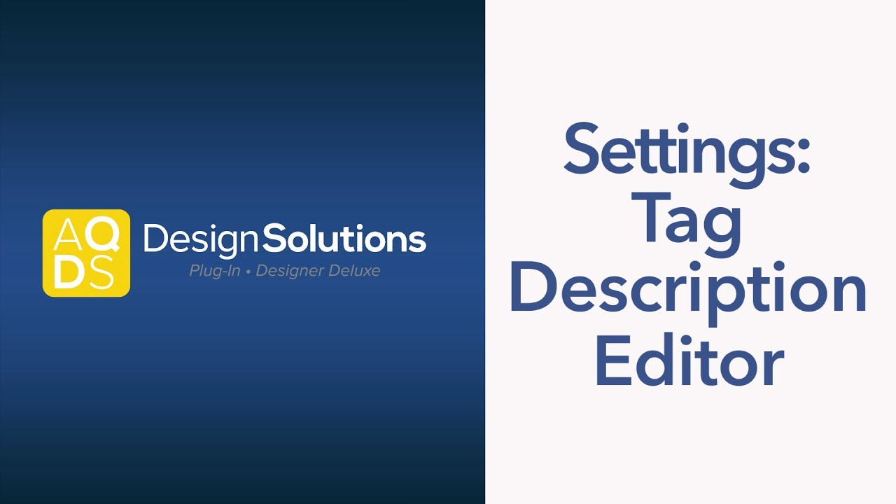 AQ Design Solutions – Advanced Tag Settings
