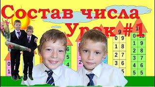 Первоклашка состав числа 10. Задачка по математике 1 класс. Домики из цифр. Учитель - Ученик Урок  1
