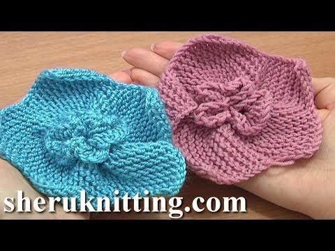 Garter Stitch 5-Petal Flower Knitting Tutorial 2 How To Knit Flowers