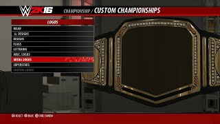Create A Championship - Custom  Title Belts & Straps in WWE 2K16