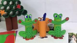 Tự Làm Ống Đựng Bút Bằng Lõi Giấy Vệ Sinh - DIY paper pen box with toilet paper core