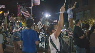 Biden Supporters Continue To Celebrate Election Win Near Boston Public Garden