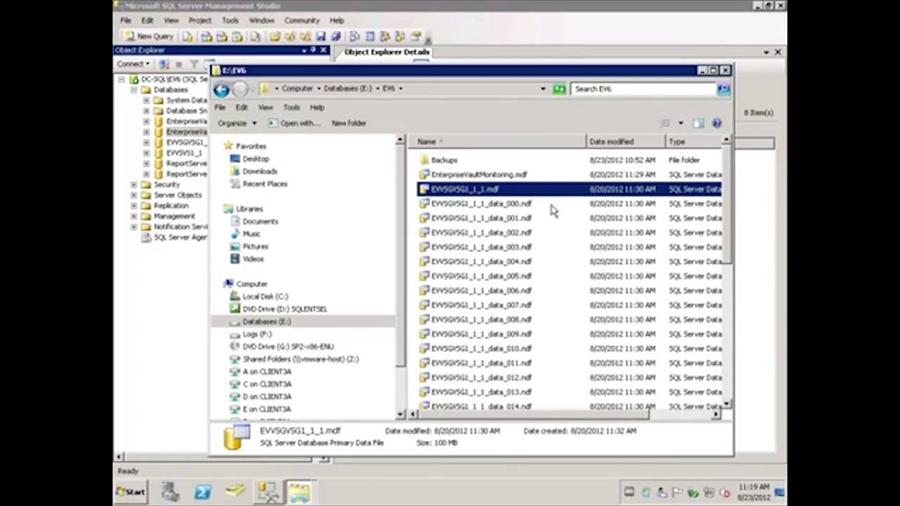 How to move the Enterprise Vault SQL databases