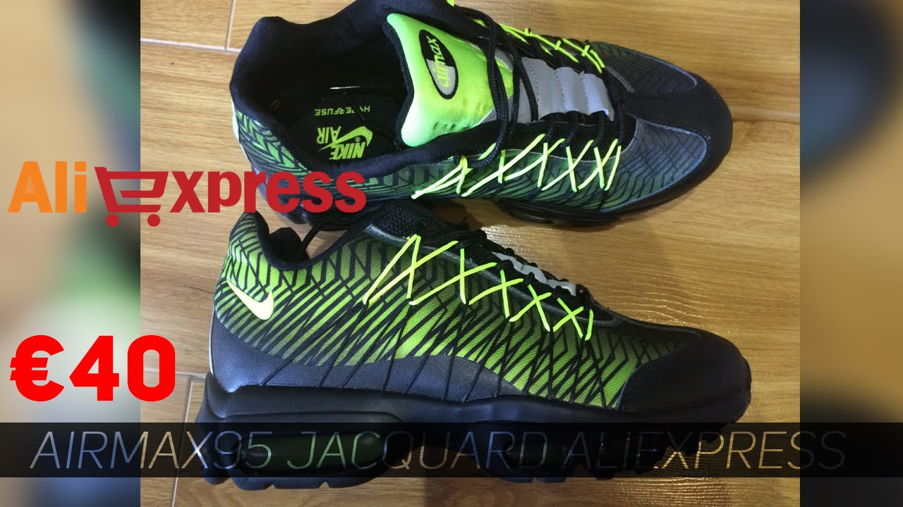 28283191659 Aliexpress Air Max 95 Jacquard Black/Volt +On Feet