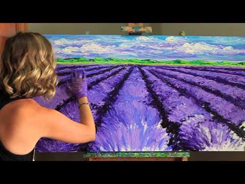 Kimberly Adams finger painting with oils.