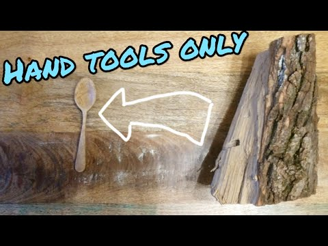 How to Make a spoon out of a stump | hand tools only | woodworking