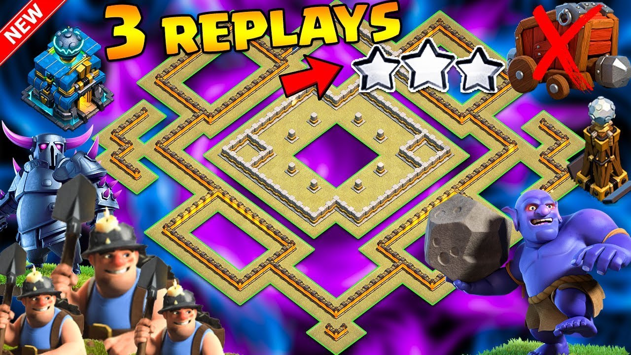 ????3 REPLAYS!????NEW TH12 WAR BASE 2018 ANTI 0 STAR Anti Everything Miner,BoWitch,Anti Queen Walk,H