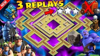 🔥3 REPLAYS!🔥NEW TH12 WAR BASE 2018 ANTI 0 STAR Anti Everything Miner,BoWitch,Anti Queen Walk,Hog