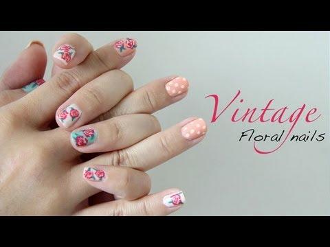 Easy Vintage Floral Nails ♥