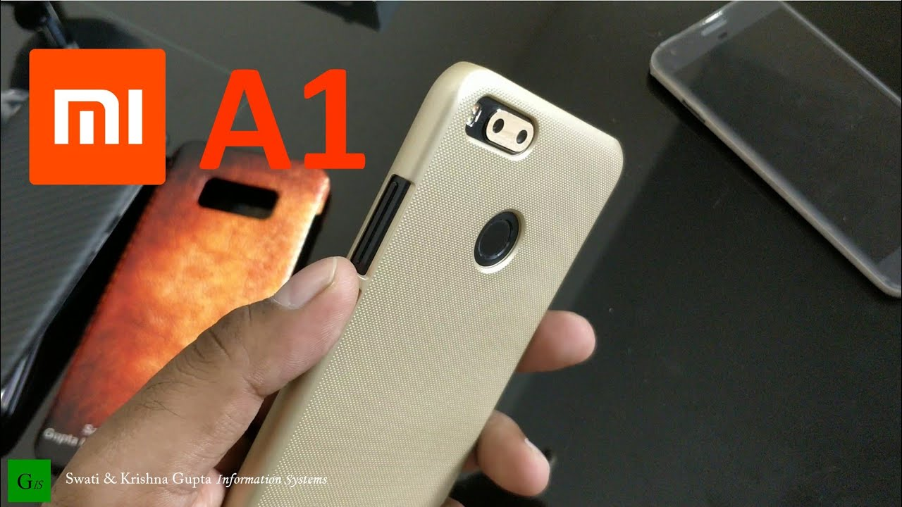 online retailer fcf3a 8a729 Xiaomi Mi A1,5X Nillkin Gold Back Cover Case, Camera Skin & Tempered Glass