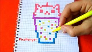 Как рисовать Коктейль Стаканчик с Напитком Котик по клеточкам в тетради Drawing  Drink Cup Cat