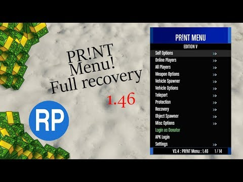GTA V Online 1.46 PR!NT | GTA 5 Mod Menu PC + Full Recovery + Free Download | Undetected | 1080p60