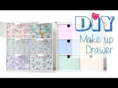 diy reversible make up drawer ikea moppe youtube. Black Bedroom Furniture Sets. Home Design Ideas