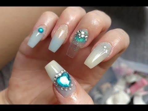 mermaid princess nails  acrylic nail art  at home nails