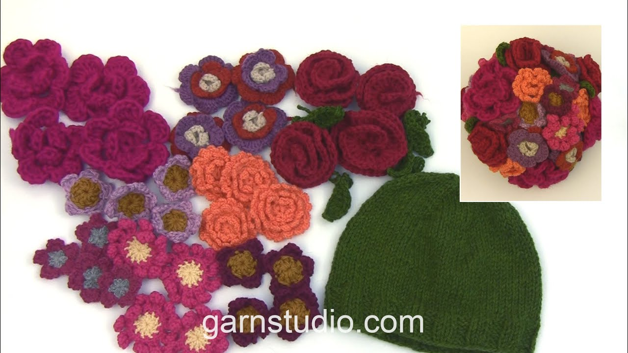 How to crochet a flower bouquet in wool yarn - YouTube