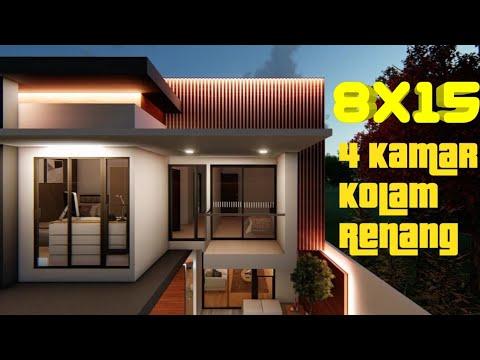 Desain Rumah 8x15 2 Lantai 4 Kamar Kolam Renang Kontemporer Minimalis Modern Small House Design