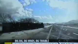 Trailer Truck VS Big Wind:Moving Big Rig Fail