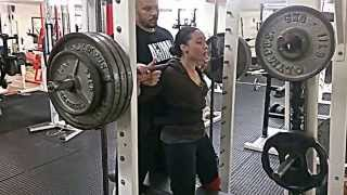 Connie 160kg squat for reps @60kg