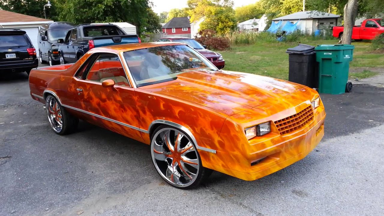 "1985 Candy Painted Custom Chevy El Camino on 24""s"