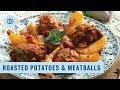 Greek Style Roasted Meatballs & Potatoes: Beeftekia me Patates sto Fourno