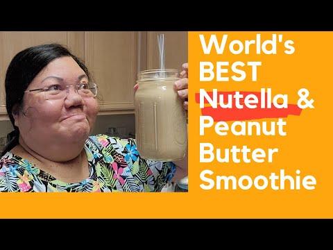 Nutella Peanut Butter Hemp Seeds and Cashew Milk Smoothie with Collagen Protein