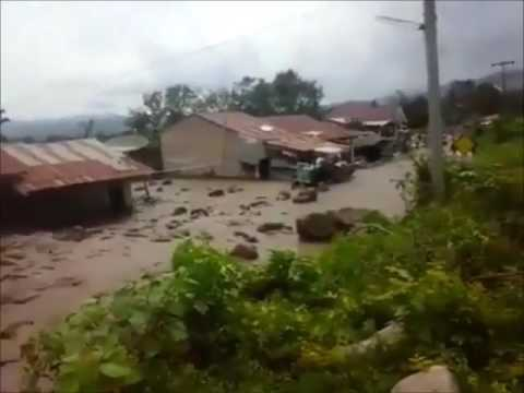 Apocalyptical lahar destroys 20 houses after the eruption of Sinabung volcano in Indonesia