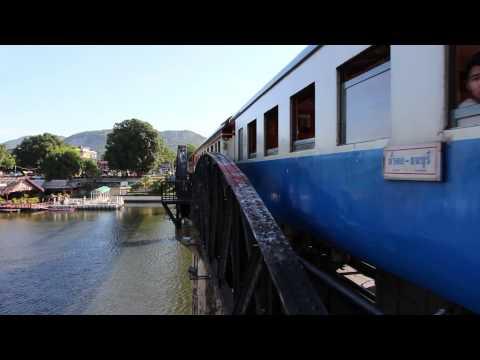 Tips Thailand | Passing Train, Bridge over the River Kwai, Kanchanaburi | HD 1080p
